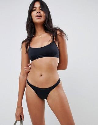 Asos Design DESIGN recycled mix and match tab side tanga bikini bottom-Black