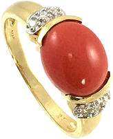 One Kings Lane Vintage 14K Gold, Coral & Diamond Ring