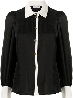 Sandro Contrast Button-Down Blouse