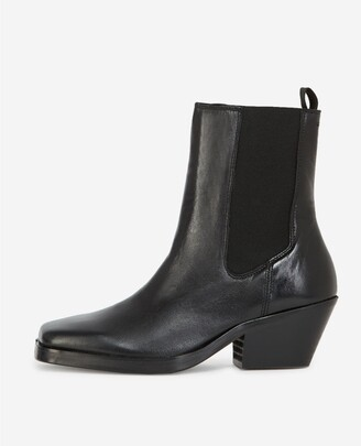 The Kooples Black leather ankle boots with flat sole