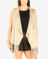 City Chic Plus Size Faux-Suede Draped Fringe Vest