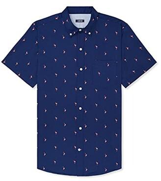 Izod Men's Big & Tall Big Breeze Short Sleeve Button Down Patterned Shirt