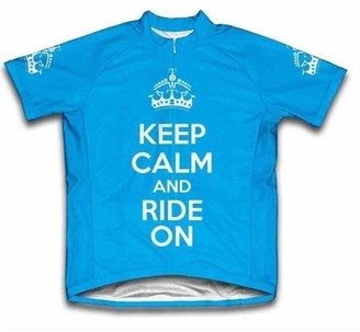 Scudo Keep Calm and Ride On Microfiber Short-Sleeved Ladies' Cycling Jersey, Blue, 2XL