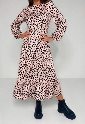 Missguided Blush Dalmatian Print Ruffle Hem Smock Midi Dress