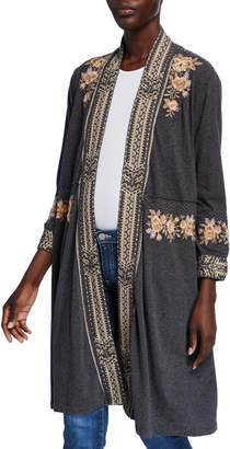 Johnny Was Plus Size Marushka Embroidered Cotton Duster