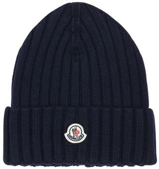 Moncler Wool Rib Knit Beanie Hat
