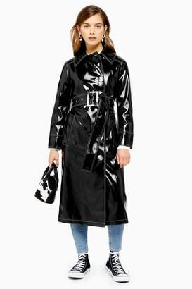 Topshop Womens Petite Black Faux Leather Vinyl Contrast Stitch Jacket - Black