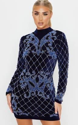 PrettyLittleThing Navy Velvet Embellished Long Sleeve High Bodycon Dress