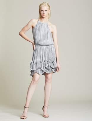 Halston Pleated Metallic Dress