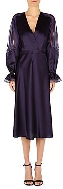 Alberta Ferretti Silk Lace Inset Midi Dress