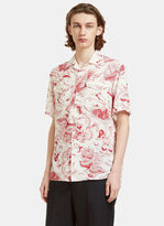 Gucci Men's Donald Duck Print Bowling Shirt In White And Red