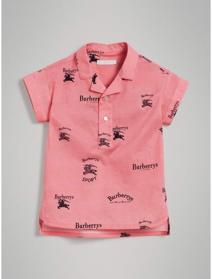 Burberry Short-sleeve Archive Logo Print Cotton Shirt