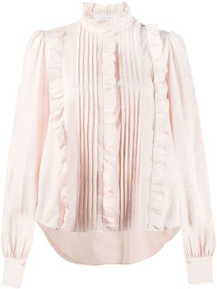 See by Chloe Pleated Ruffle Trim Blouse