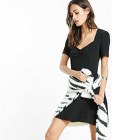 Express ruched front short sleeve dress