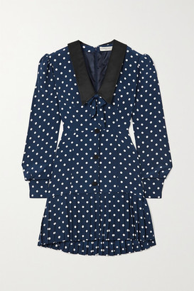 Alessandra Rich Bow-detailed Pleated Polka-dot Silk Mini Dress - Blue