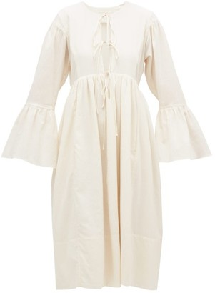 Loup Charmant Minerva Bell-sleeve Cotton Dress - Ivory