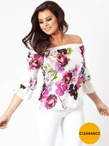 Jessica Wright Flissy White Bardot Floral Top