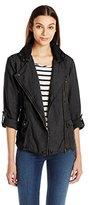 Michael Stars Women's Linen Moto Jacket with Hood