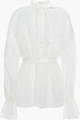 Dolce & Gabbana Pussy-bow Lace-trimmed Silk And Cotton-blend Organza Blouse