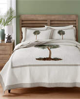 Martha Stewart Collection Lone Palm Cotton Embroidered Full/Queen Quilt, Created for Macy's