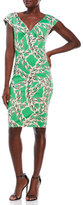 Samantha Sung Printed V-Neck Sheath Dress