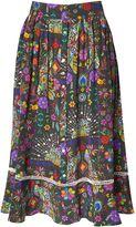 Matthew Williamson Pampas Peacock Silk Midi Skirt