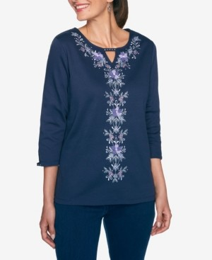 Alfred Dunner Women's Wisteria Lane Centre Floral Embroidery Top