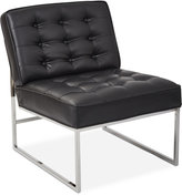 Nevyn Wide Faux-Leather Accent Chair, Direct Ship