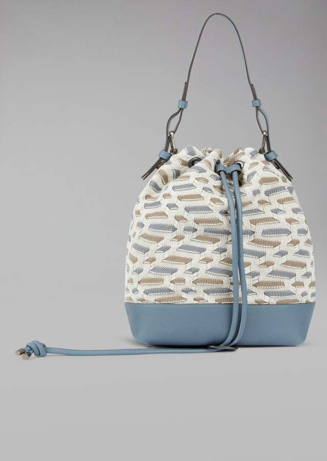 Giorgio Armani Shoulder Bag In Jacquard Knit And Leather