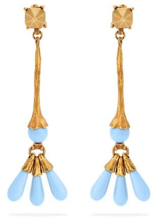Valentino - Bead Embellished Earrings - Womens - Blue