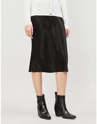 Vince Flared high-rise crushed satin midi skirt