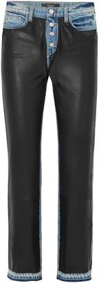 Amiri Cropped Leather-paneled Frayed High-rise Straight-leg Jeans