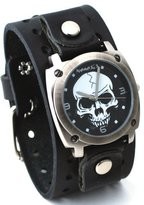 Nemesis #B926K Men's Gun Metal Skull Dial Wide Leather Cuff Band Watch
