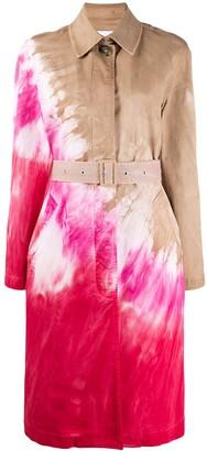 MSGM Tie-Dye Print Trench Coat