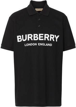 Burberry Logo Print Cotton Piqué Polo Shirt