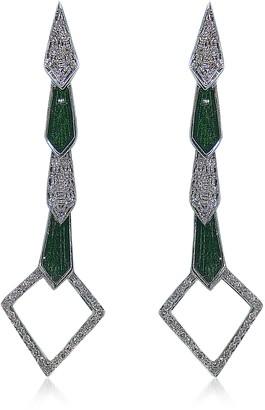 Bernard Delettrez White Gold Snake Earrings w/ Diamonds&Green Enamel