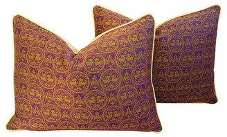 One Kings Lane Vintage Pierre Frey Royal Medallion Pillows - Pr - lavender/gold/multi