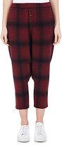 Regulation Yohji Yamamoto Women's Plaid Drop-Rise Crop Pants-RED, BLACK