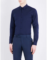 The Kooples Fitted spread-collar cotton-blend shirt