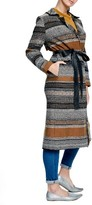 Plus Size Women's Elvi Stripe Jacquard Coat