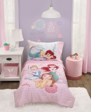 Disney Toddler Girl's Princess Belle, Ariel and Cinderella Bed Set, 4-Piece Bedding