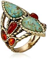 Barse Bronze and Genuine Stone Ring