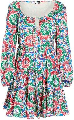 Rixo Roxy Hibiscus Floral Mini Dress