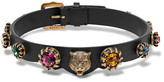 Gucci Burnished Gold-tone, Leather And Crystal Choker - Black