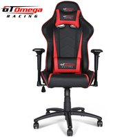 GT Omega Racing GT Omega PRO Racing Office Chair Black Next Red Leather
