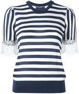 Dolce & Gabbana striped lace T-shirt - women - Silk/Cotton/Polyamide/Cashmere - 38