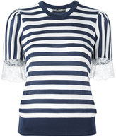 Dolce & Gabbana striped lace T-shirt - women - Silk/Cotton/Polyamide/Cashmere - 40