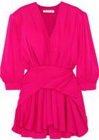 Balenciaga Gathered Silk-blend Satin Mini Dress - Pink