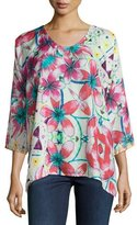 Johnny Was Barra 3/4-Sleeve Floral-Print Blouse, Plus Size