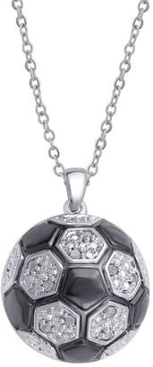 Divina Silver Overlay Diamond Accent Soccer Ball Pendant - n/a